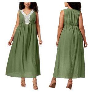 NY Collection Olive Crochet Trim Maxi Dress Sz 1X